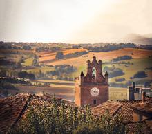 Little Village Landscape Hills Scene Italy Gradara Pesaro Marche