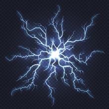 Lightning Thunder. Flash Electricity, Spark Strike, Blue Light Blitz Electric Flare, Natural Energy Flash Lightning Night Storm Vector