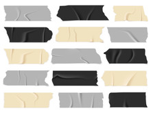 Scotch Tape. Transparent Adhesive Tapes, Sticky Pieces. Isolated Vector Set