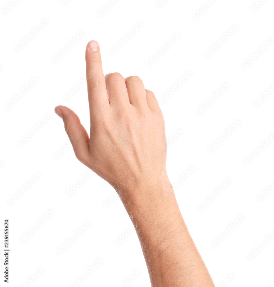 Fototapety, obrazy: Man pointing at something on white background, closeup of hand