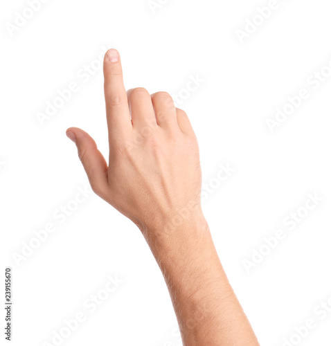 Man pointing at something on white background, closeup of hand