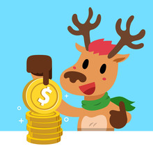 Vector Cartoon Christmas Reindeer With Money Coins Stack For Design.