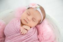Adorable Newborn Girl Lying In Baby Nest, Closeup