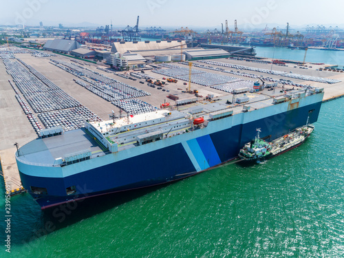 Photo  Aerial view of large RORO Vehicle carrier vessel parking for loading car at sea port