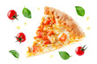 canvas print picture - Pizza with cheese, chicken and fresh tomato slices