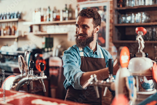 Cheerful bartender in apron working at pub Wallpaper Mural