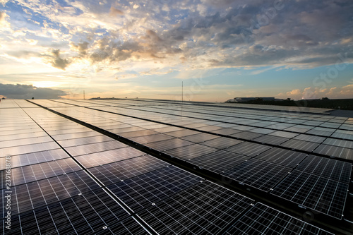 solar panels and sky sunset background