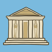 Greek Temple Icon. Hand Drawn ...