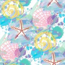 Hand Drawn Seamless Pattern With Seashells.