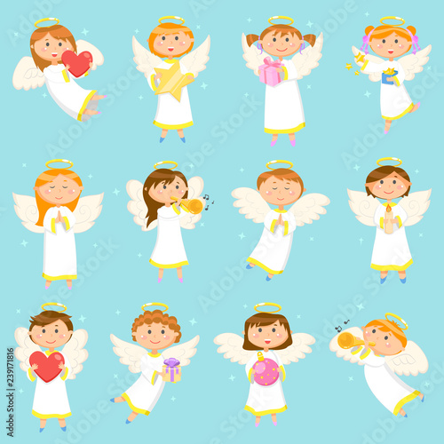 Angel Children, Boys and Girls Winter Holiday Wallpaper Mural