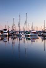 Poulsbo, Washington State, Marina With Boats At Sunset