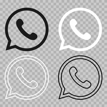 Set Of Black And White Phone Icons