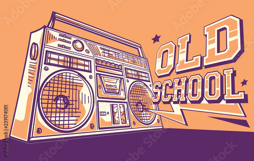 Old school - vintage tape recorder funky music design - Buy this