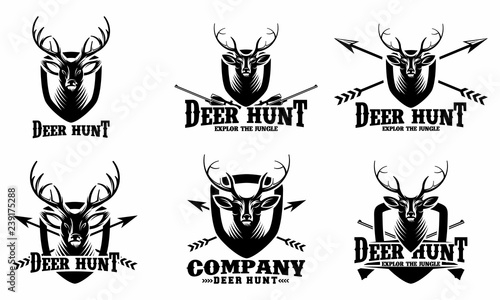 set of Deer Hunt Logo template, Elegant Deer Head logo designs vector - Vector