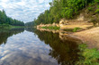 sandstone cliffs with tourist trail on river of gauja, Latvia