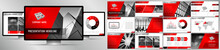 Modern Red, Grey And Black Business Vector Presentation Template - EPS10 - Hd Format: 1920x1080 Px.