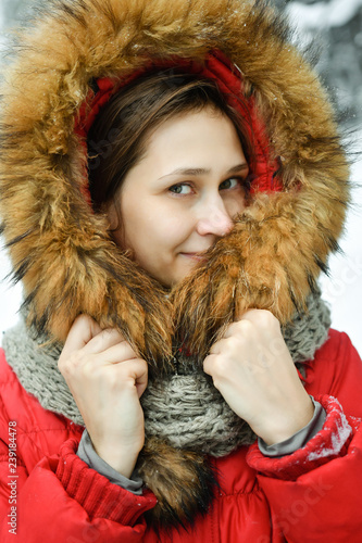 7db44f448c9b4 Portrait beautiful young woman in winter jacket - Buy this stock ...