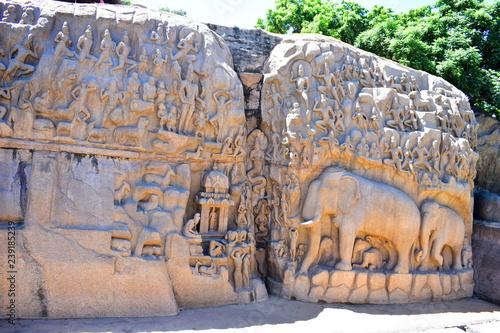 Fényképezés Chennai, Tamilnadu - India - September 09, 2018: Mahabalipuram elephant carvings