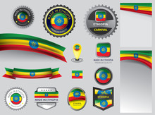 Made In Ethiopia Seal, Ethiopian Flag And Color --Vector Art--