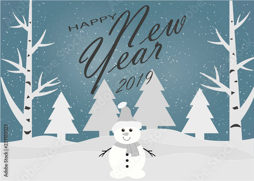 Foto op Plexiglas Kerstmis Merry Christmas and Happy New Year. 2019. Winter forest. Vector illustration