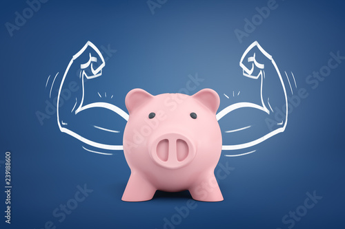 Fototapeta 3d rendering of a piggy bank front view with strong arms drawn on both sides on a blue background. obraz