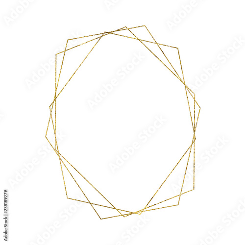 Gold geometrical triangular frame isolated on white background Wall mural