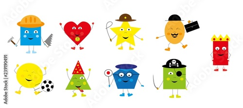 collection of funny, cute, basic geometric shapes for children / vectors illustration for kids