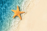 Fototapeta Łazienka - Starfish on the summer beach. Summer background. Tropical sand beach
