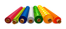 Vector Illustration Of Foil Gift Packaging Coil Rolls With Texture