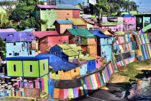 Colourful Houses At The Slum Kampung Wisata In Jodipan Village Malang City East Java Indonesia Buy This Stock Photo And Explore Similar Images At Adobe Stock Adobe Stock