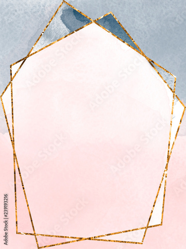 Fototapeta Blush Pink Gray Invitation Card Template With Polygonal Gold Frame Watercolor Texture Background