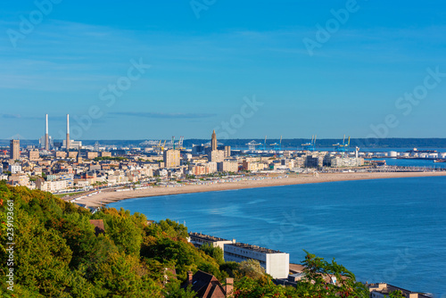 Canvas Prints New Zealand High angle view on Skyline, Coastline and Harbor of Le Havre Normandy France