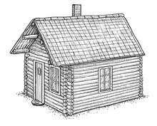 Log Wood House Illustration, D...