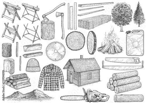 Valokuva Lumberjack equipment collection illustration, drawing, engraving, ink, line art,