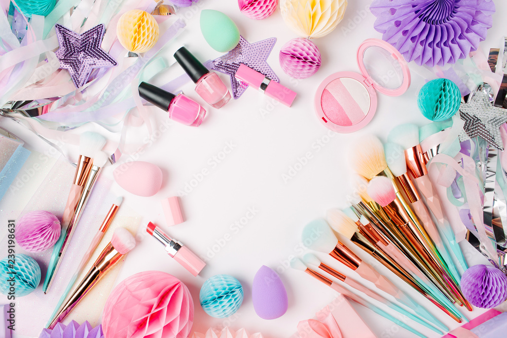 Fototapety, obrazy: Makeup products and accessory with festive decorations. Flat lay. Beauty concept