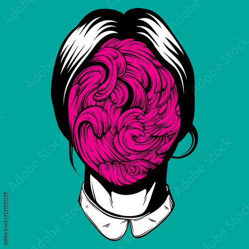 Fotografie, Obraz Vector illustration of weird young girl with sea waves instead face made in hand drawn style