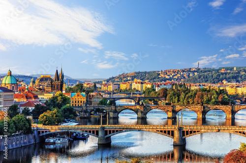 Fototapeta Prague Bridges over the river Vltava, Czech Republic obraz na płótnie