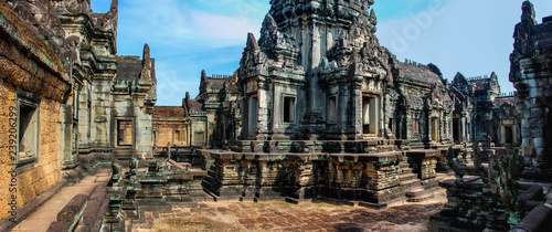 Panoramic view of the temple buildings of Angkor Wat Cambodia Canvas Print
