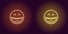 Neon Illustration Of Laughing Emoji. Vector Icon