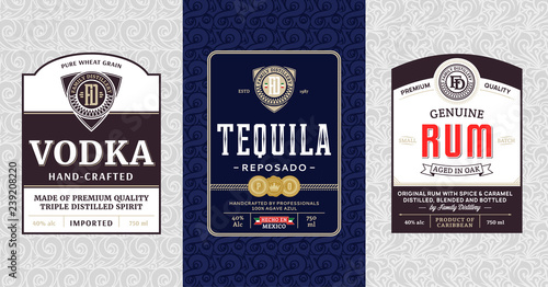 Alcoholic drinks vintage labels and packaging design templates Fototapeta