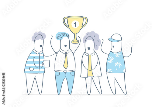 Fotografía  Championship cup, cartoon business team with golden cup, celebration of victory, success, luck, competition, good teamwork