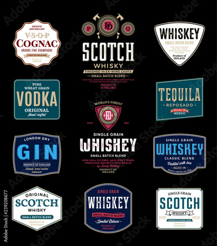 Fotografia Alcoholic drinks labels and packaging design templates