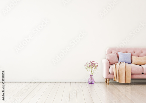 Living Room Interior Wall Mock Up With Pink Tufted Sofa Multi Colored Pastel Pillows Plaid And Flowers In Vase On Neutral Empty Warm White Background Free Space On Left 3d Rendering Buy