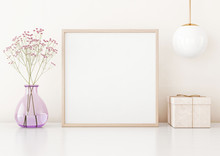 Home Interior Poster Mock Up With Square Frame On Table, Flowers In Vase, Lamp And Box On Warm White Wall Background. 3D Rendering.
