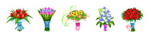 Vector Set Of Bouquets Of Flowers In A Multi-colored Festive Wrapper, Different Plants Designed For Sale Or As A Gift