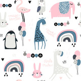 Seamless childish pattern with cute giragge, penguin, rainbow, elephant, bunny, flamingo, owl and textures. Creative kids texture for fabric, wrapping, textile, wallpaper, apparel. Vector illustration - 239213277