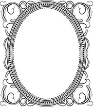 Old Black Oval Frame With A Bl...