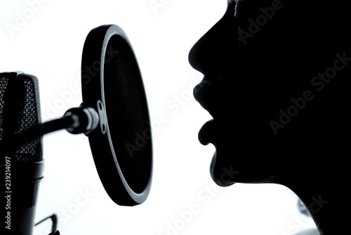 Sensual woman sexy silhouette profile with pretty face near studio microphone. A girl with opened mouth in front of the microphone. Close-up