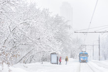 Tram Goes During Snowstorm In ...