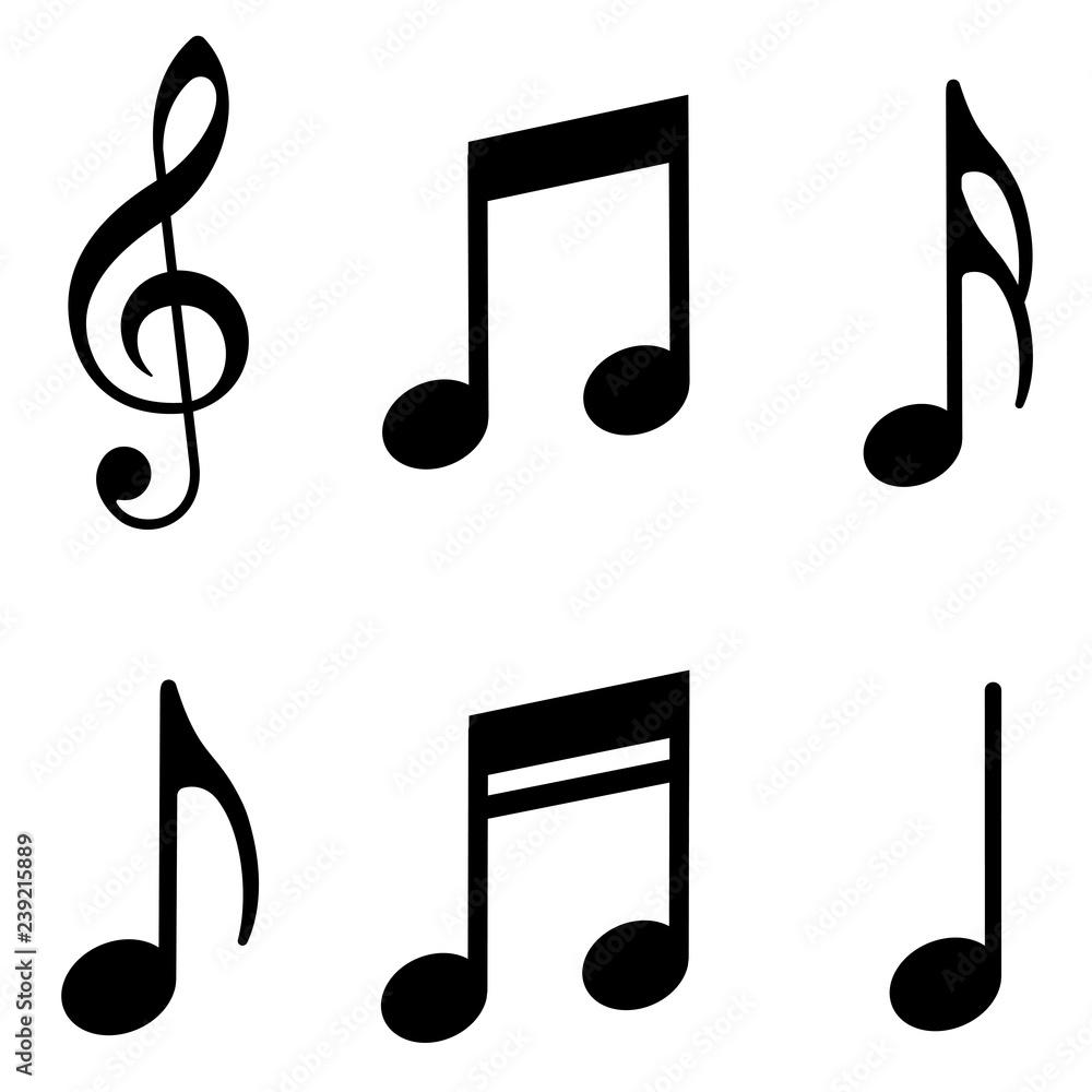 Fototapeta Music notes icons set. Vector